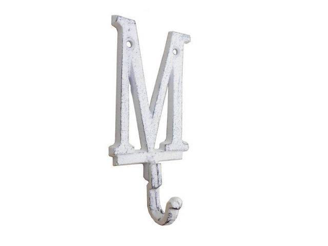 Whitewashed Cast Iron Letter M Alphabet Wall Hook 6