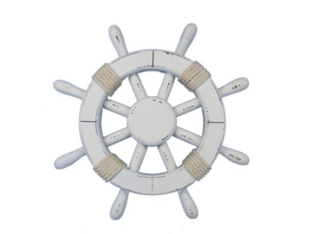 Rustic White Decorative Ship Wheel 12