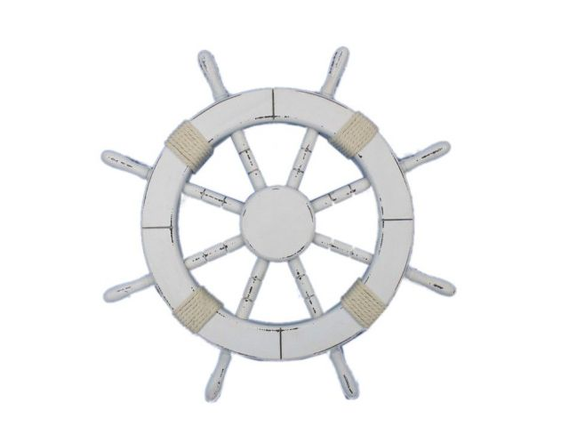 Rustic White Decorative Ship Wheel 18