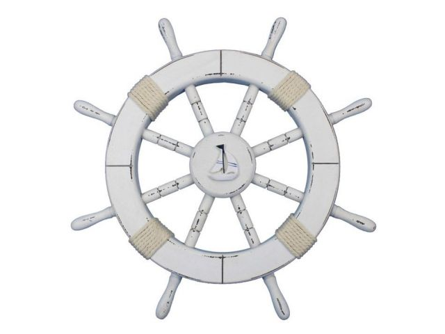 Rustic White Decorative Ship Wheel with Sailboat 18