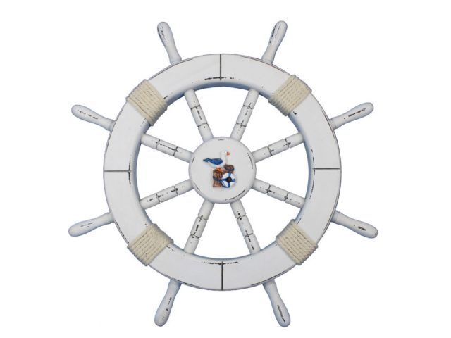 Rustic White Decorative Ship Wheel with Seagull and Lifering 18