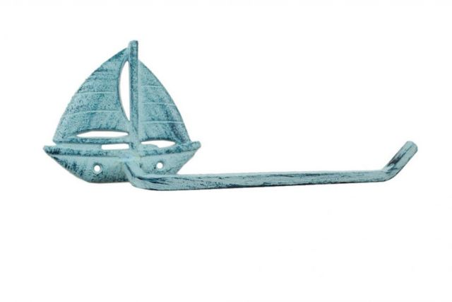 Rustic Dark Blue Whitewashed Cast Iron Sailboat Toilet Paper Holder 11