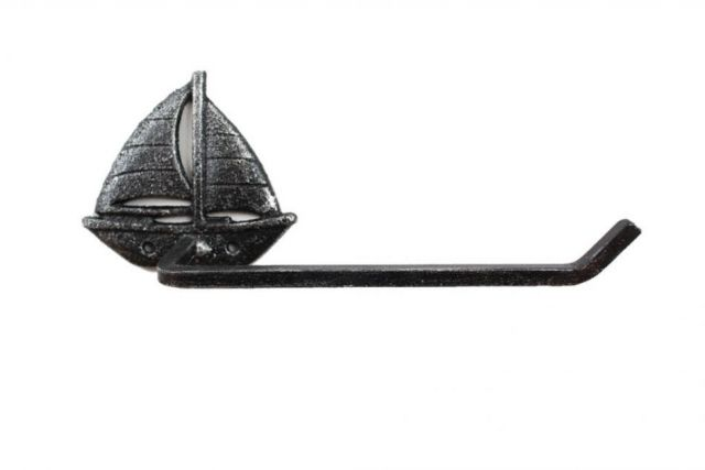 Rustic Silver Cast Iron Sailboat Toilet Paper Holder 11