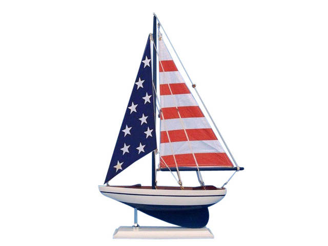 Wooden USA Flag Sailer Model Sailboat Decoration 17
