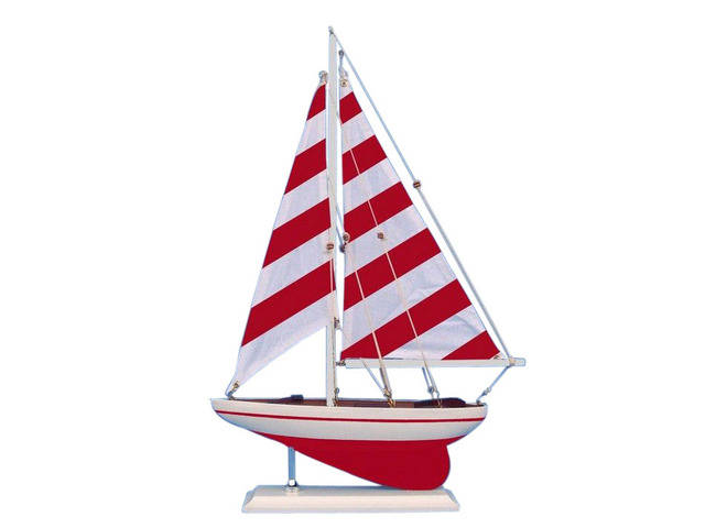 Wooden Red Striped Pacific Sailer Model Sailboat Decoration 17