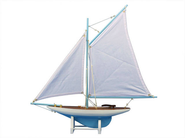 Wooden Americas Cup Contender Light Blue Model Sailboat Decoration 18