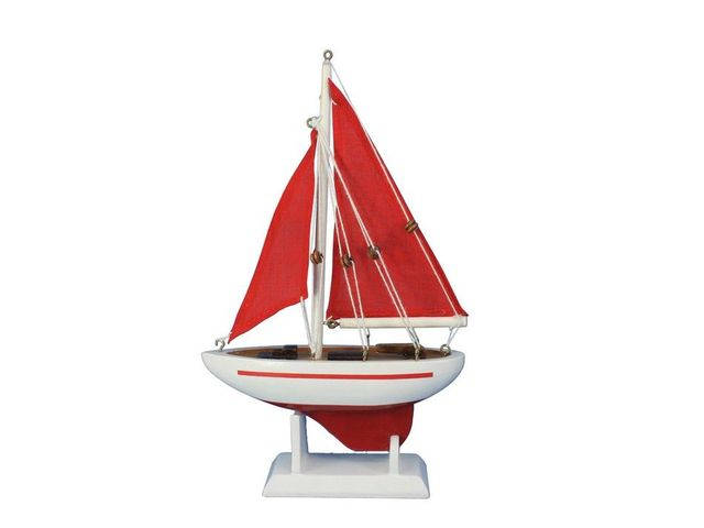 Wooden Red Pacific Sailer with Red Sails Model Sailboat Decoration 9