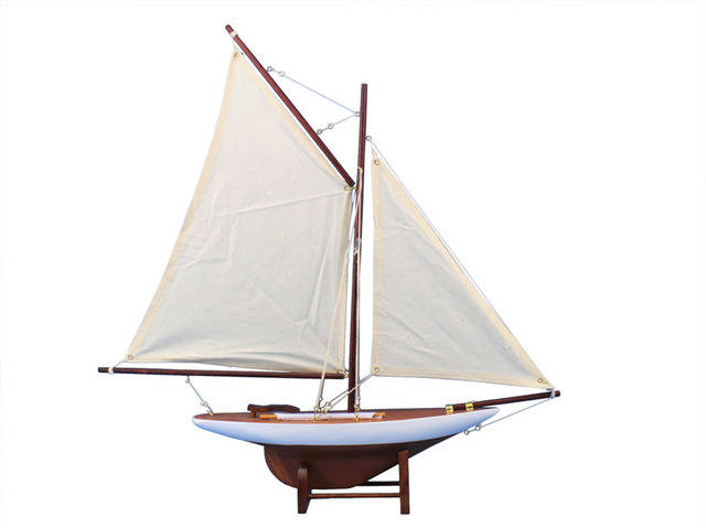 Wooden Americas Cup Contender Model Sailboat Decoration 18