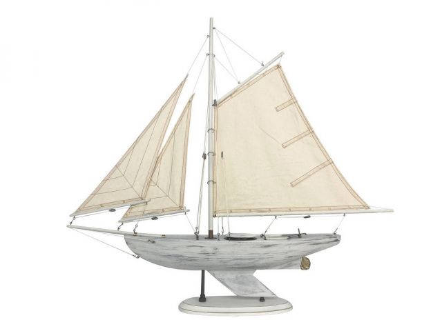 Wooden Rustic Whitewashed Bermuda Sloop Model Sailboat 30