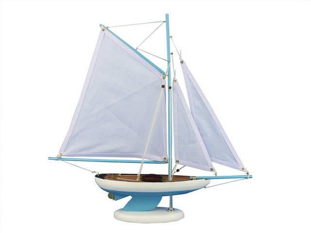 Wooden Bermuda Sloop Light Blue Model Sailboat Decoration 17