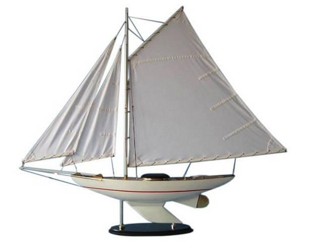 Wooden Sunrise Sailing Sloop Model Decoration 40