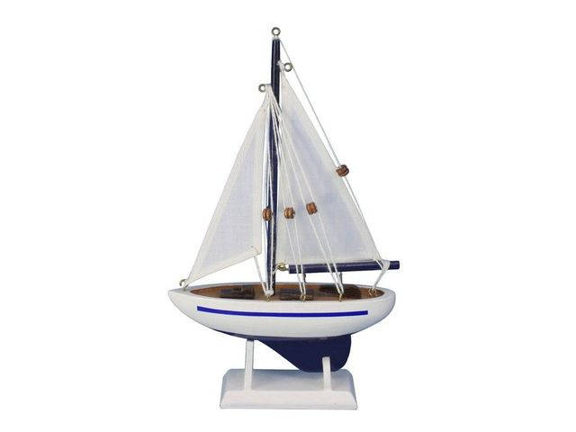 Wooden Blue Pacific Sailer Model Sailboat Decoration 9