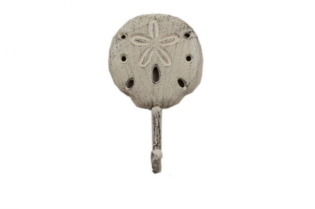 Whitewashed Cast Iron Sand Dollar Wall Hook 7