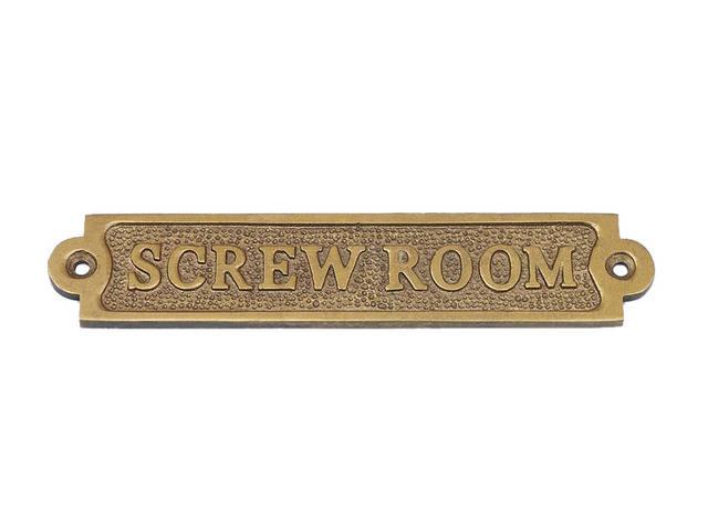 Antique Brass Screw Room Sign 6