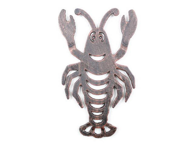 Rustic Copper Cast Iron Lobster Trivet 11
