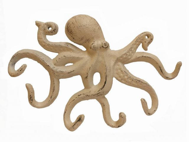 Aged White Cast Iron Octopus Hook 11