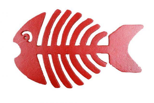 Rustic Red Cast Iron Fish Bone Trivet 11