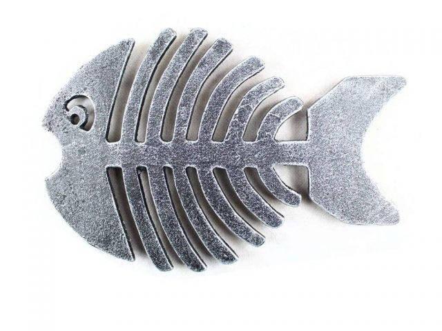 Antique Silver Cast Iron Fish Bone Trivet 11