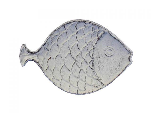 Whitewashed Cast Iron Fish Decorative Plate 8