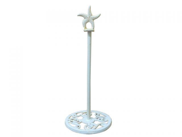 Antique White Cast Iron Starfish Extra Toilet Paper Stand 15