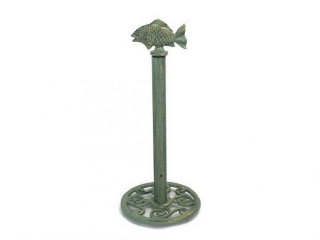 Antique Bronze Cast Iron Fish Extra Toilet Paper Stand 15