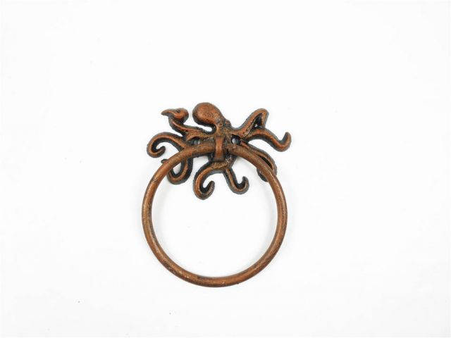 Rustic Copper Cast Iron Octopus Towel Holder 6