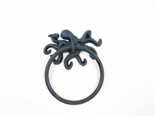 Seaworn Blue Cast Iron Octopus Towel Holder 6