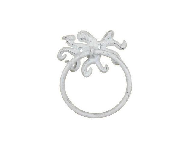Whitewashed Cast Iron Octopus Towel Holder 6