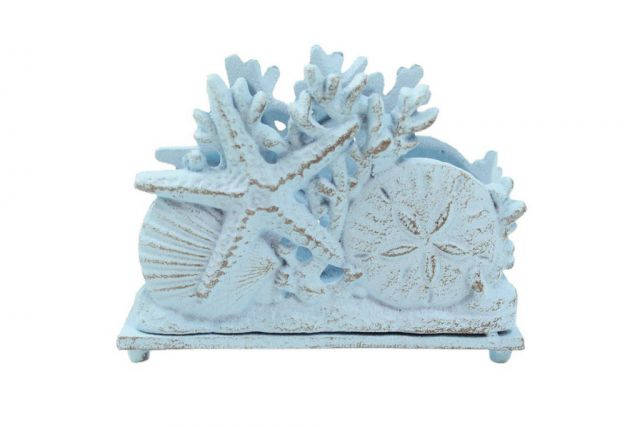 Rustic Light Blue Cast Iron Seashell Napkin Holder 7