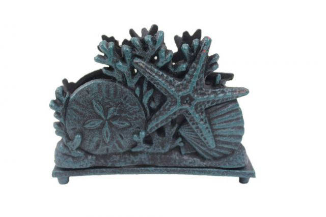 Seaworn Blue Cast Iron Seashell Napkin Holder 7