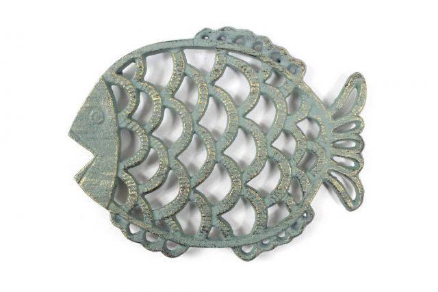 Antique Seaworn Bronze Cast Iron Big Fish Trivet 8