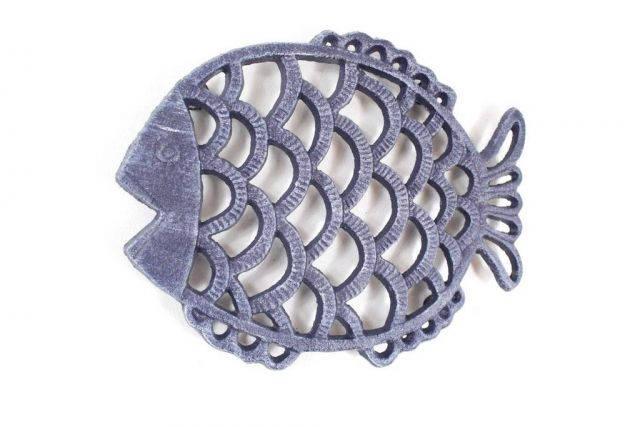 Rustic Dark Blue Cast Iron Big Fish Trivet 8