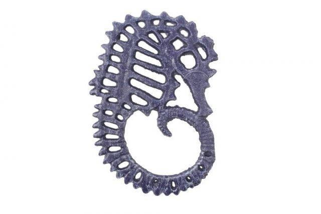 Rustic Dark Blue Cast Iron Seahorse Trivet 6