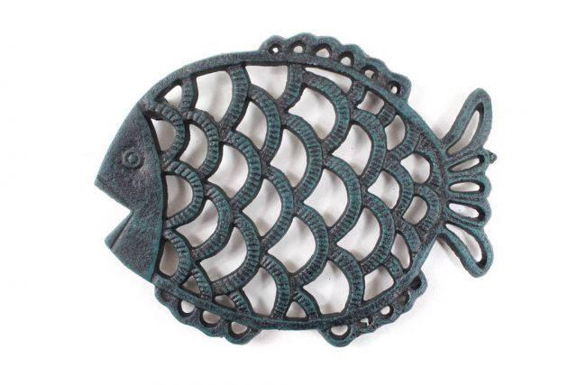 Seaworn Blue Cast Iron Big Fish Trivet 8