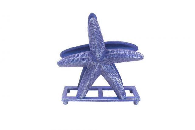 Rustic Dark Blue Cast Iron Starfish Napkin Holder 6