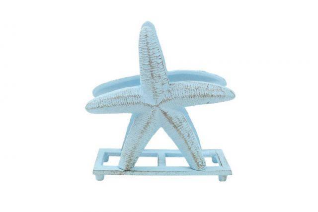 Rustic Light Blue Cast Iron Starfish Napkin Holder 6