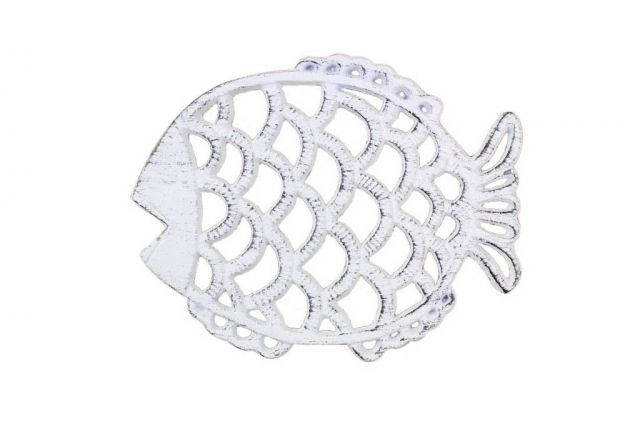 Rustic Whitewashed Cast Iron Big Fish Trivet 8