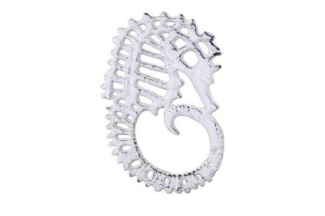 Whitewashed Cast Iron Seahorse Trivet 6
