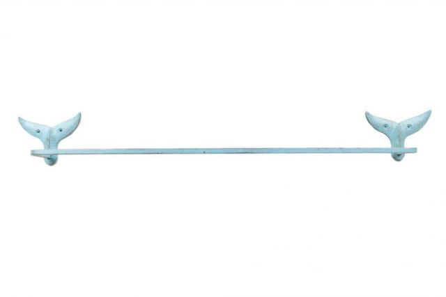 Rustic Light Blue Cast Iron Whale Tail Bath Towel Holder 28