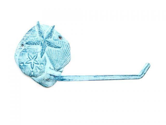 Rustic Dark Blue Whitewashed Cast Iron Shell Sand Dollar Starfish Toilet Paper Holder 10