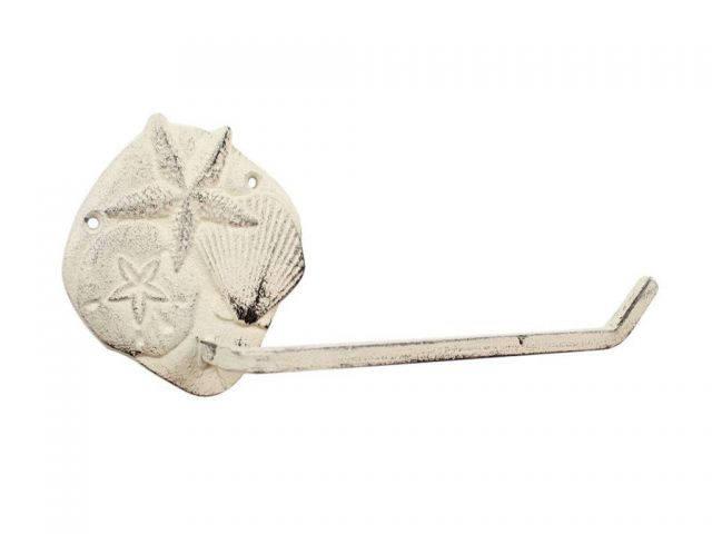 Whitewashed Cast Iron Shell Sand Dollar Starfish Toilet Paper Holder 10