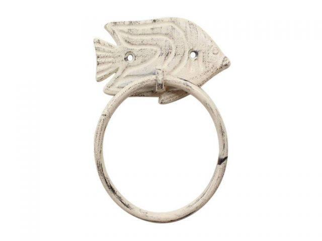 Whitewashed Cast Iron Angel Fish Towel Holder 6.5