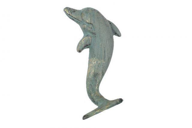 Antique Seaworn Bronze Cast Iron Dolphin Hook 7