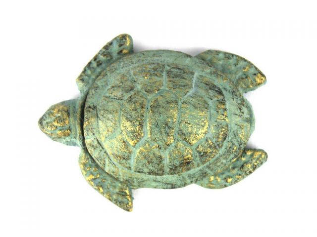 Antique Bronze Cast Iron Decorative Turtle Paperweight 4