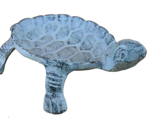 Rustic Dark Blue Whitewashed Cast Iron Standing Turtle Plate 9