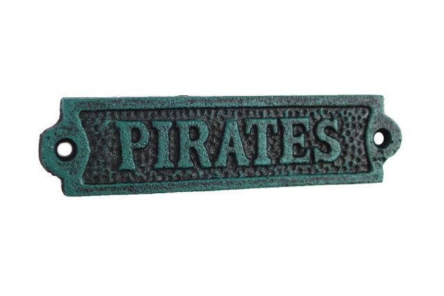 Seaworn Blue Cast Iron Pirates Sign 6