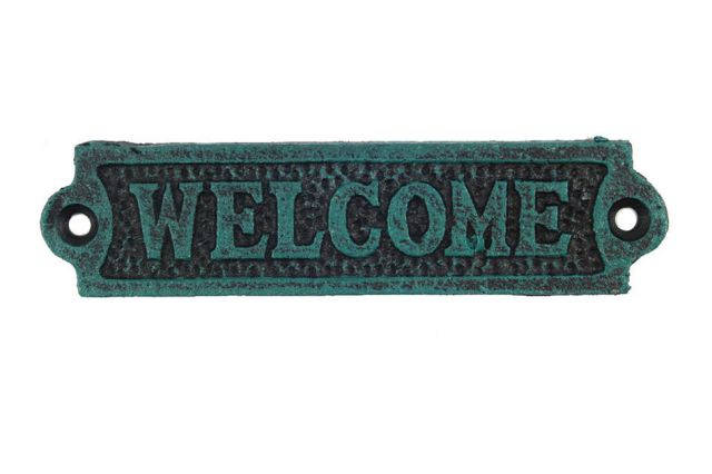 Seaworn Blue Cast Iron Welcome Sign 6