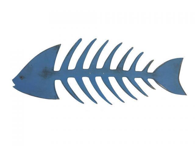 Wooden Rustic Dark Blue Fishbone Wall Mounted Decoration 25
