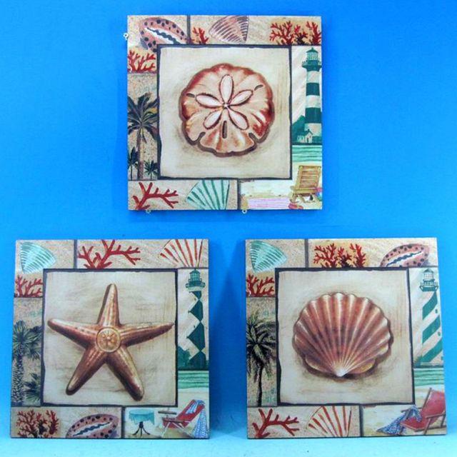 Ceramic Seashell Wall Plaque 12 - Set of 3
