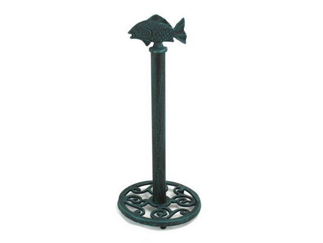 Seaworn Blue Cast Iron Fish Extra Toilet Paper Stand 15